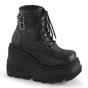 """4 1/2"""" Wedge Platform Festival Lace-Up Ankle Boots"""